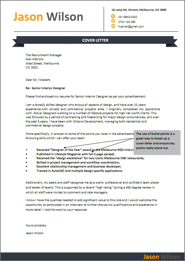 job resume cover letter examples