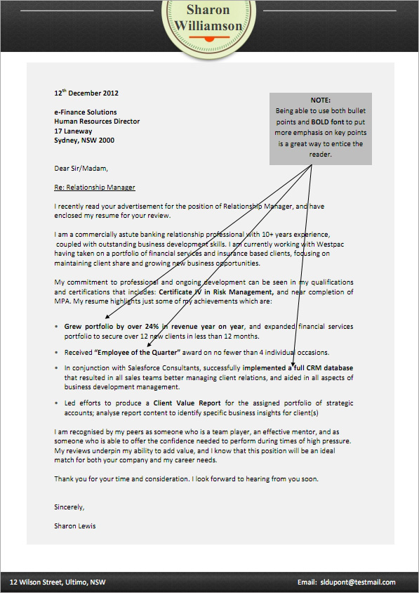job cover letter sample - Australian Cover Letters