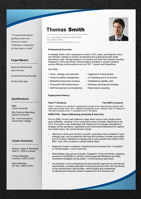 Cv writing sample cv