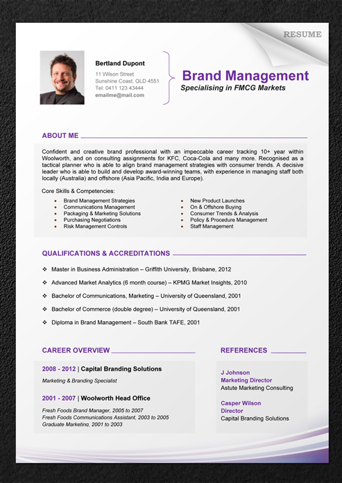 resume template 1 - Resume Format For Professional
