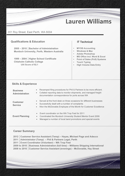 Resume header and footer