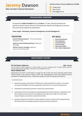 sample resume template 4