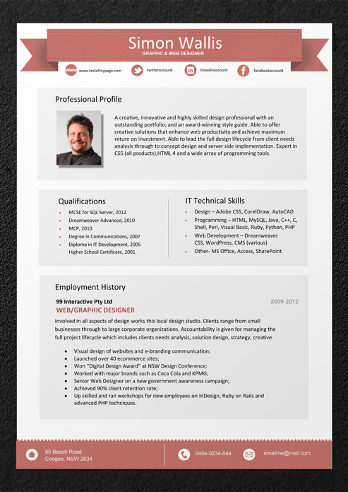 professional resume format download